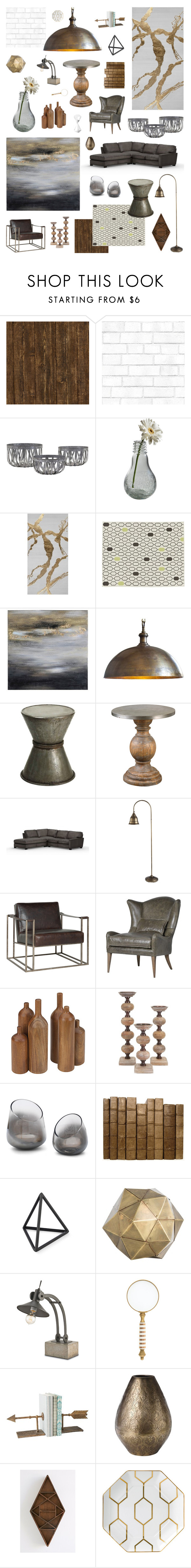 """""""industrial chic"""" by crystalliora ❤ liked on Polyvore featuring interior, interiors, interior design, home, home decor, interior decorating, Tempaper, Dot & Bo, CB2 and Renwil"""