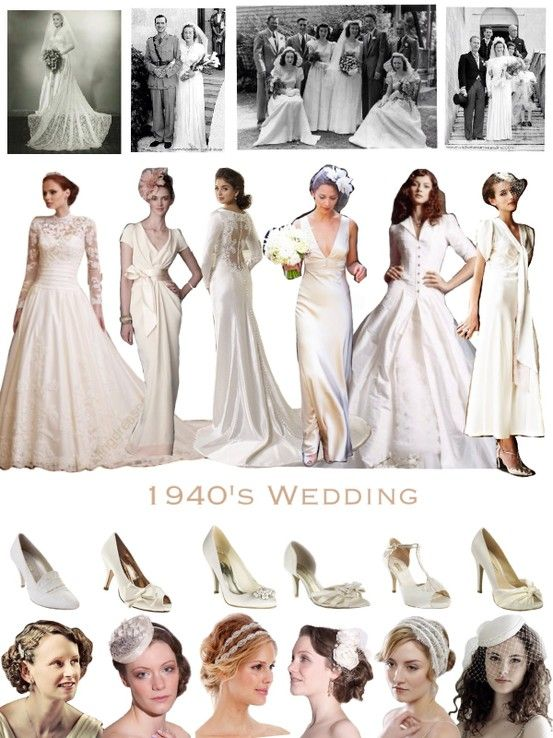 1940 S Inspired Wedding Classic Simple Silhouettes For Vintage Loving Brides 1940s Wedding Dress 1940s Wedding Theme Vintage Bridesmaid Dresses