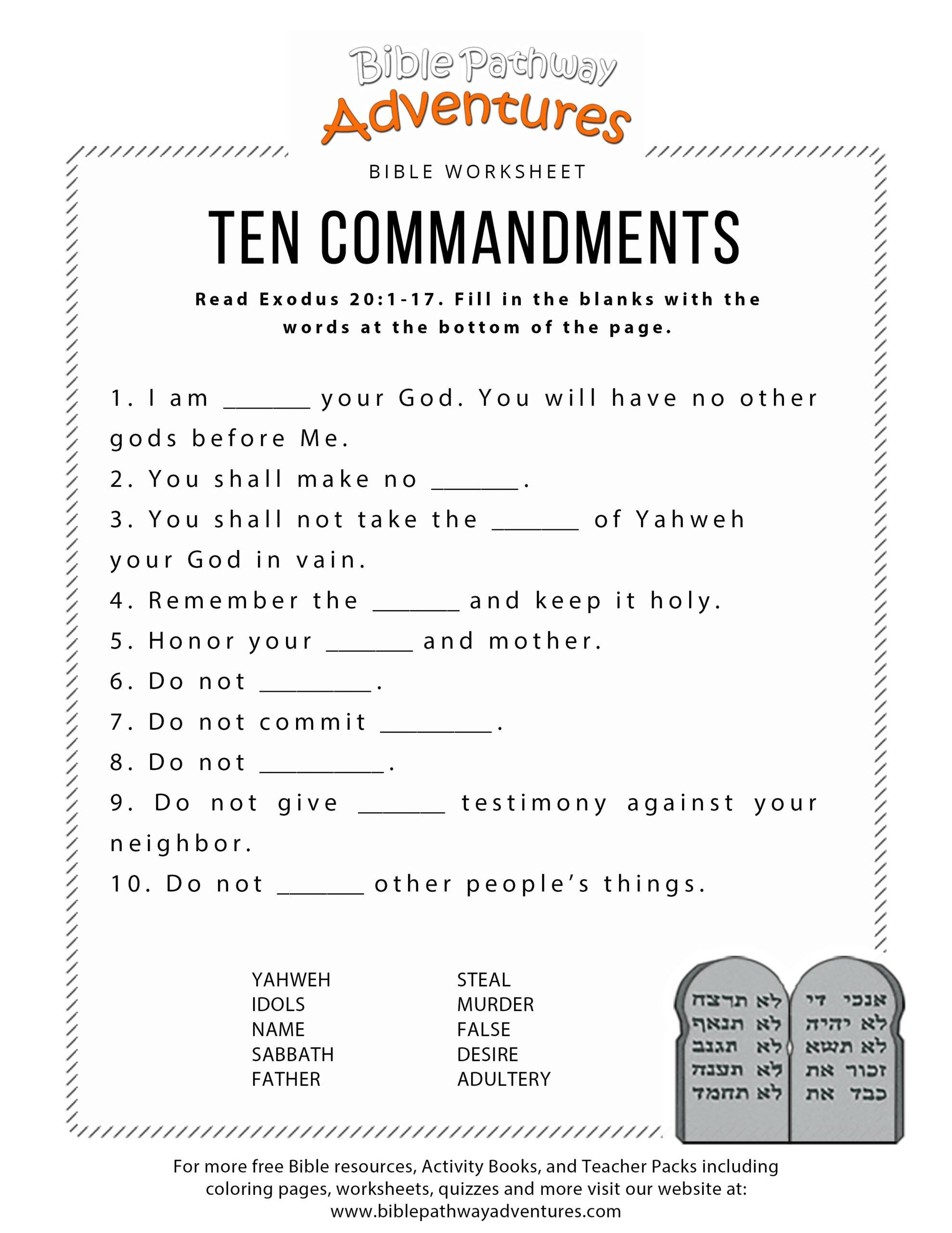 20 Free Printable Ten Commandments Coloring Pages In