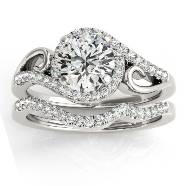 Diamond Swirl Engagement Ring Band Bridal Set 14k White Gold 0 36ct Swirl Engagement Rings Halo Diamond Engagement Ring Set Engagement Rings Bridal Sets