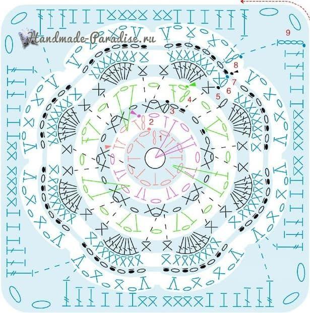 НОРКА ХОМЯЧКА | Granny5 | Pinterest | Cuadrados de crochet ...