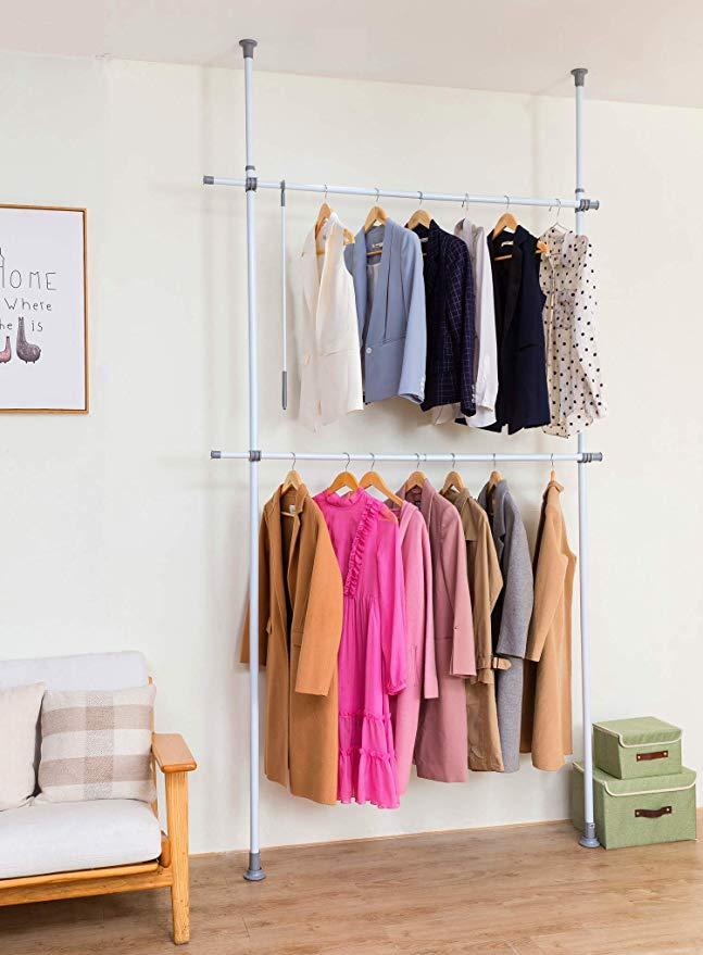 Amazon Com Allzone Adjustable Closet Rod Double Rail Freestanding Clothing Garment Rack Organizer System Closet Rod Garment Racks Adjustable Closet Organizers
