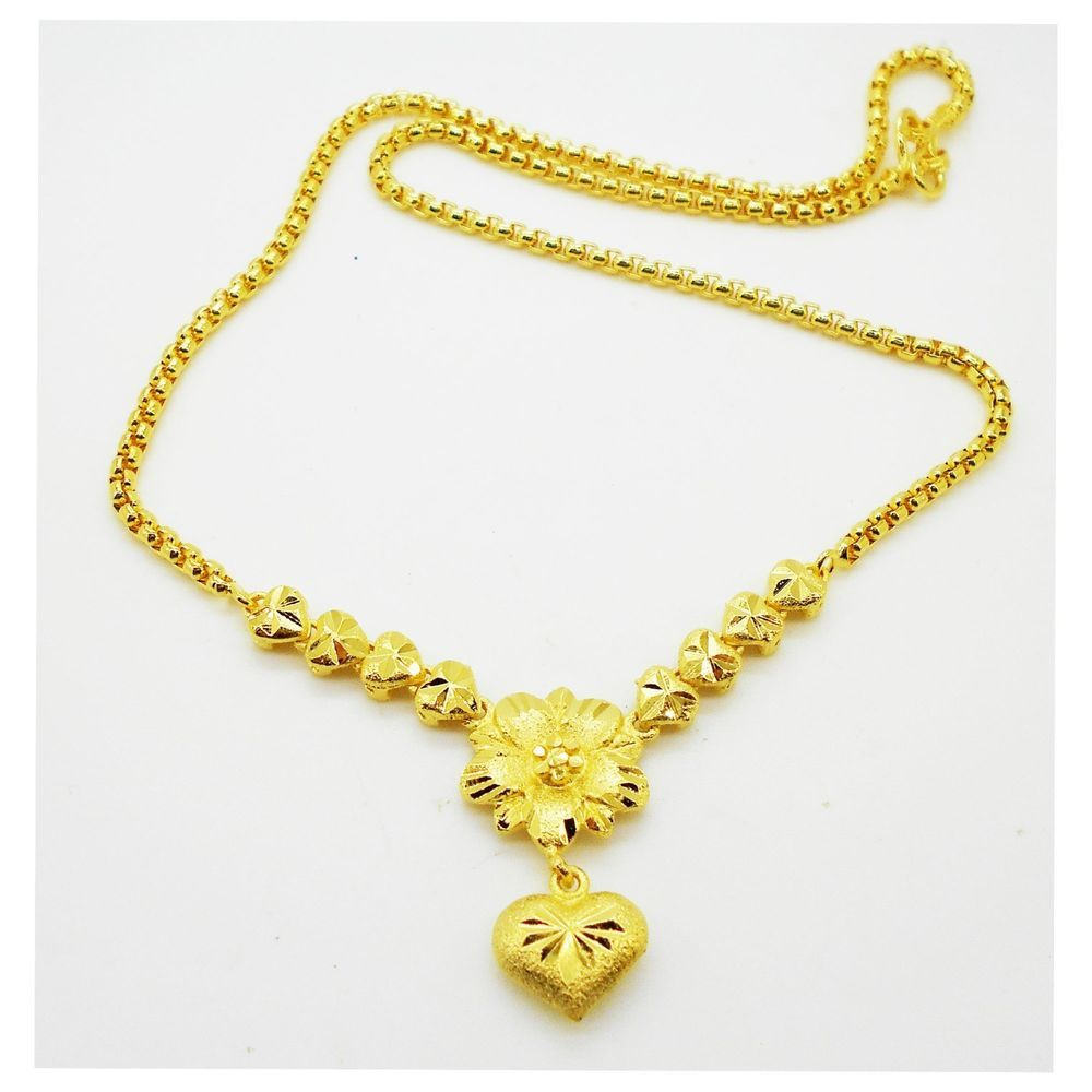 Women/'s Jewelry 24K Gold Yellow Filled Plated Necklace Flower Pendant Chain Gift