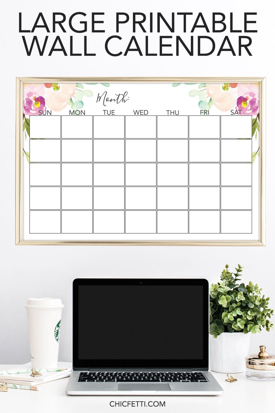 Large Printable Monthly Wall Calendar Purple Floral