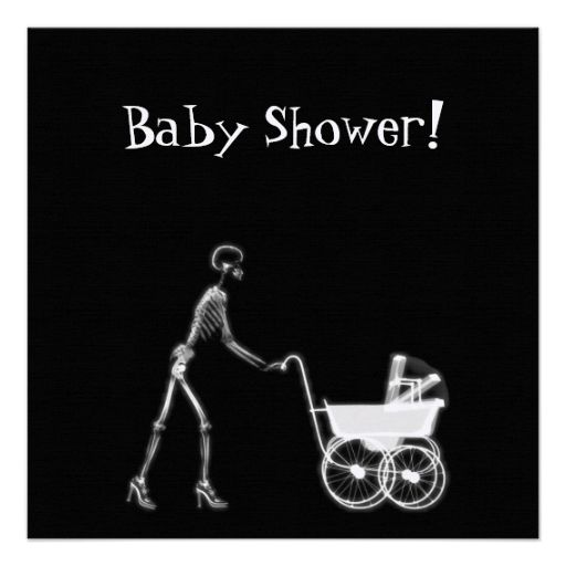 X-RAY SKELETON WOMAN and BABY CARRIAGE - BandW PERSONALIZED ANNOUNCEMENTS