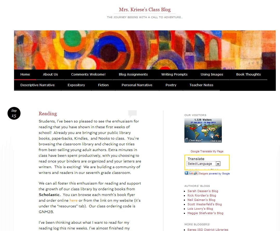 mrs kriese u0026 39 s class blog is a good example of a middle school english classes using blogs with
