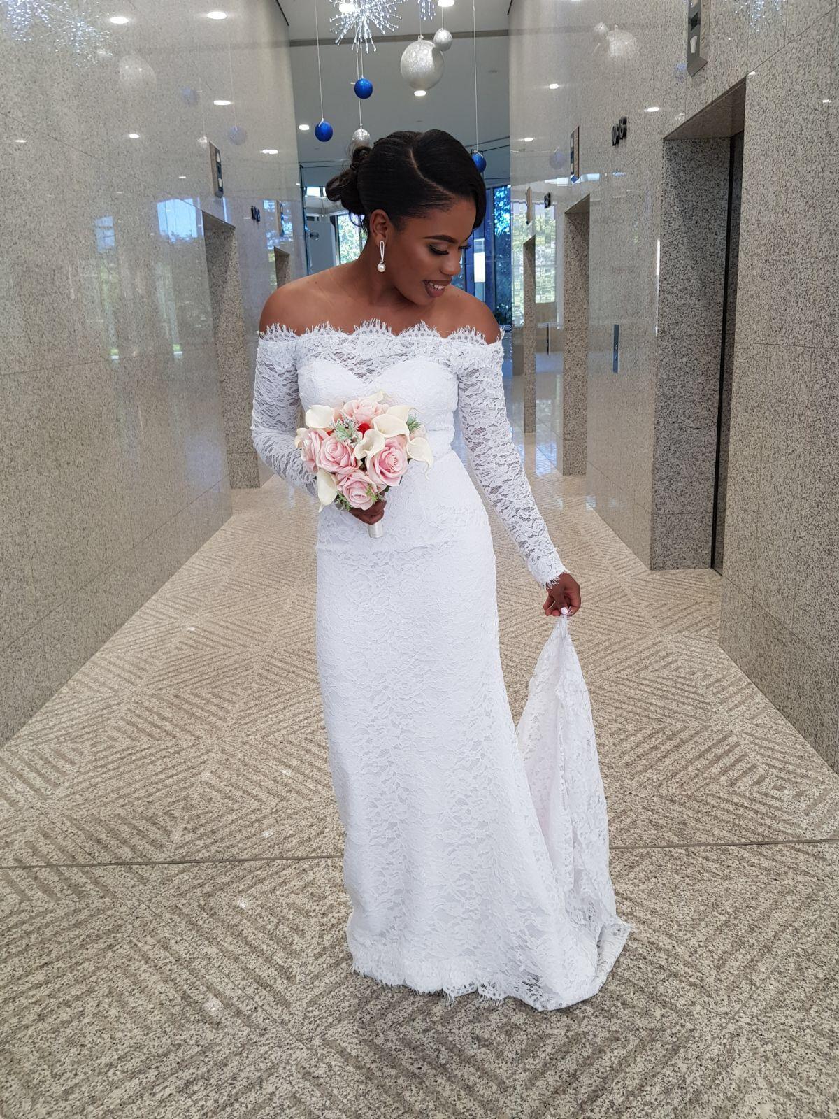 6d727fc5ac2 Sheath/Column Off-the-Shoulder Sweep Train Lace Wedding Dress ...