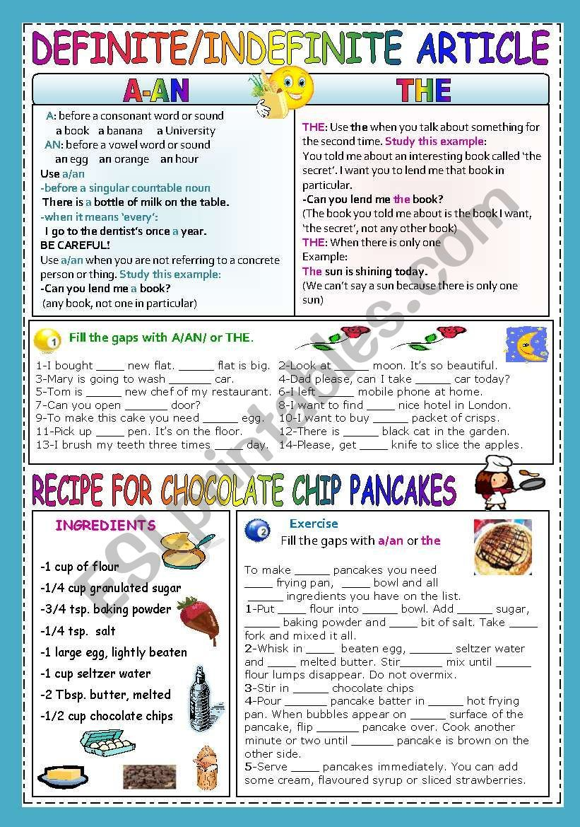 Definiteindefinite Article Worksheet English Pinterest