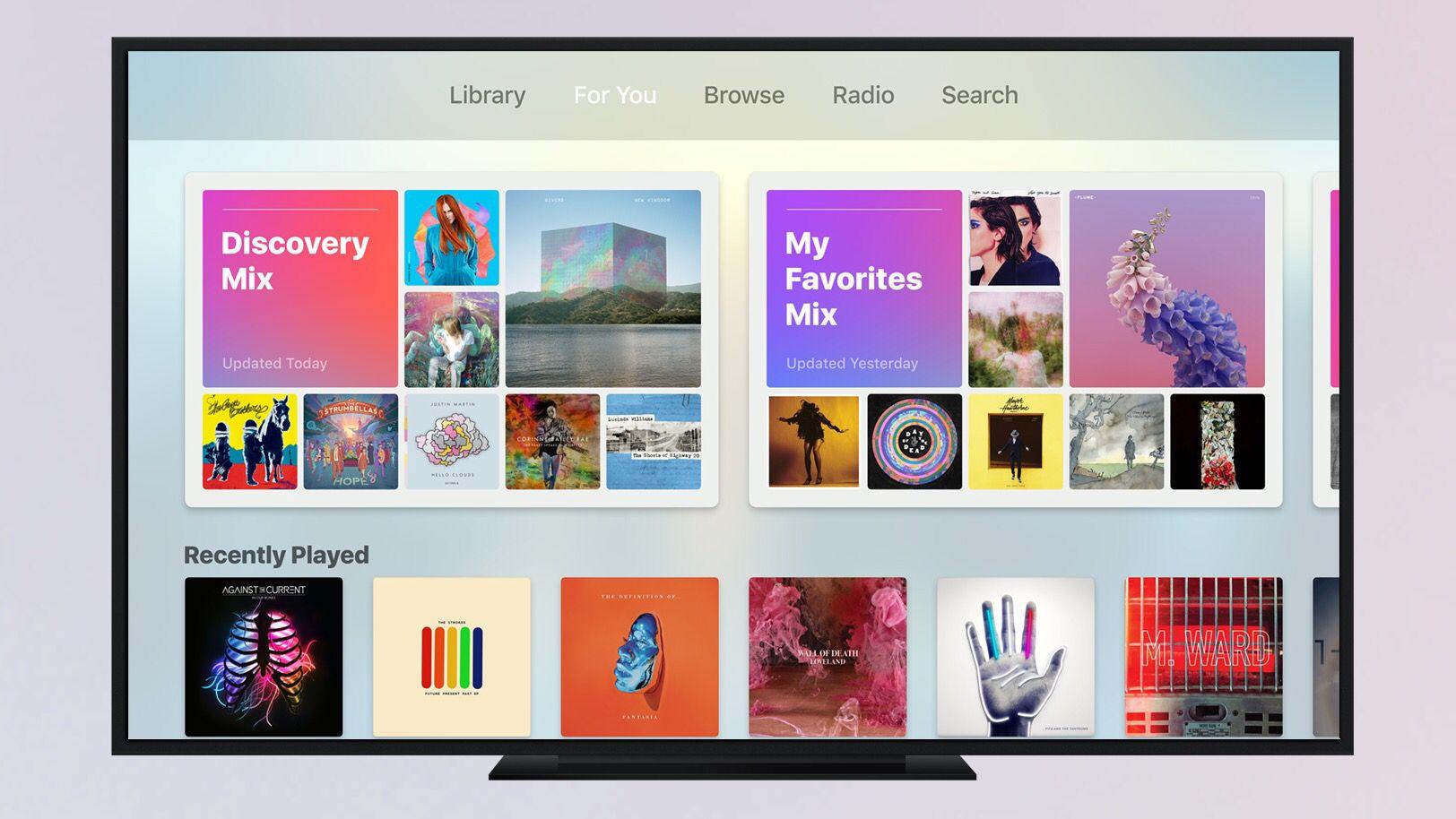 Apple TV tvOS 10 Music Apple tv, Picture video, Tv design