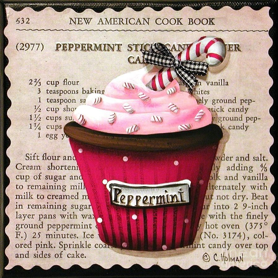 Peppermint Stick Christmas Cupcake Painting  - Peppermint Stick Christmas Cupcake Fine Art Print