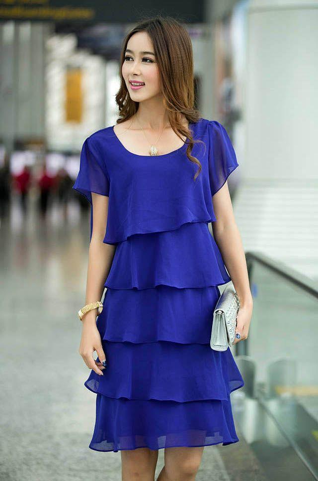 Cobalt elegance - Multi-layers, Short Sleeved Chiffon, Plus Size ...
