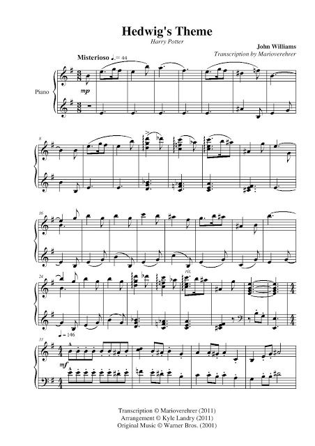 All Sheets Harry Potter Hedwig S Theme Kyle Landry Harry Potter Hedwig Harry Williams Piano