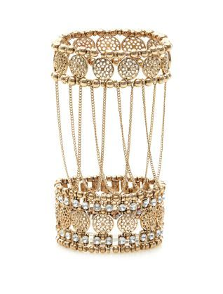 Gold Double Cuff Hand Chain | New Look