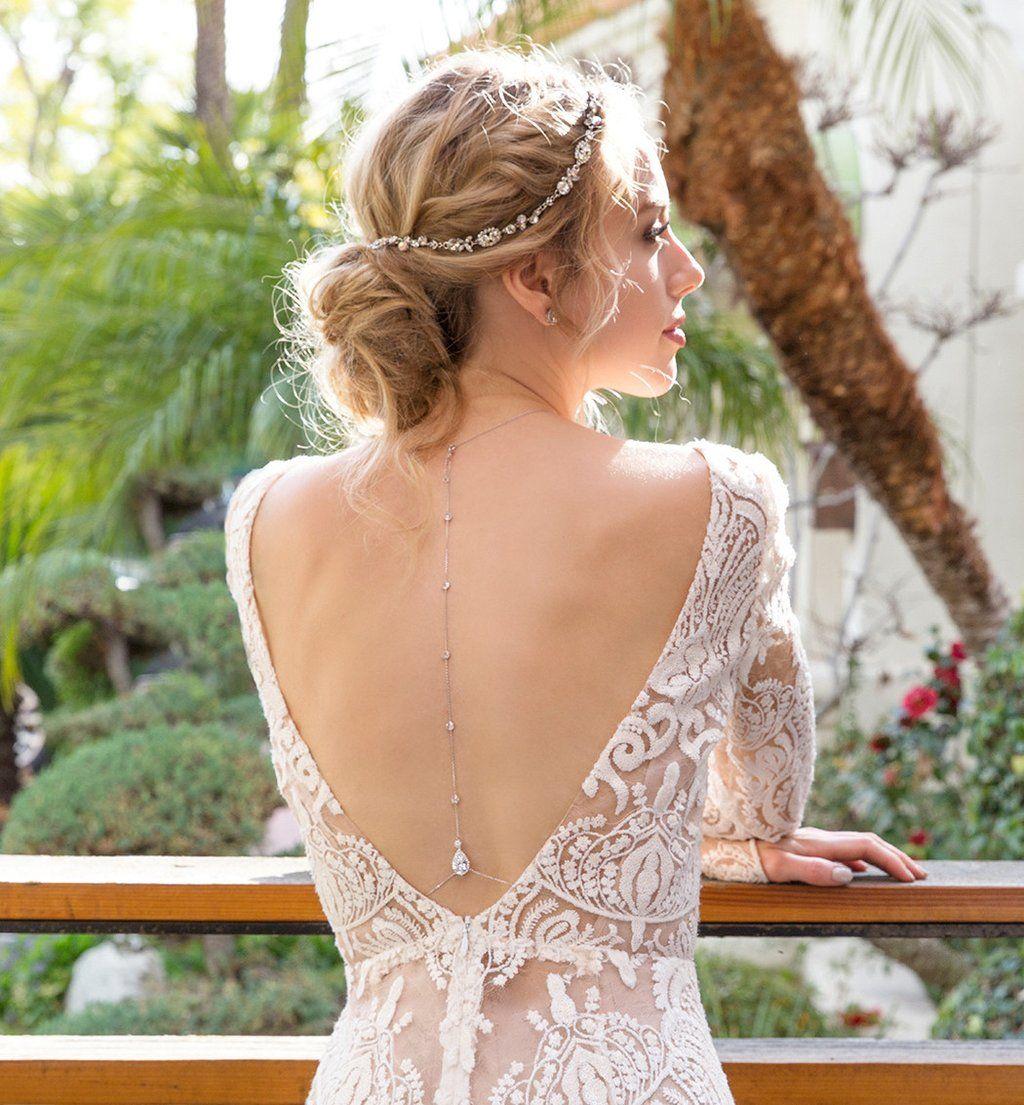 Margaux cz back pendant necklace wedding dresses pinterest