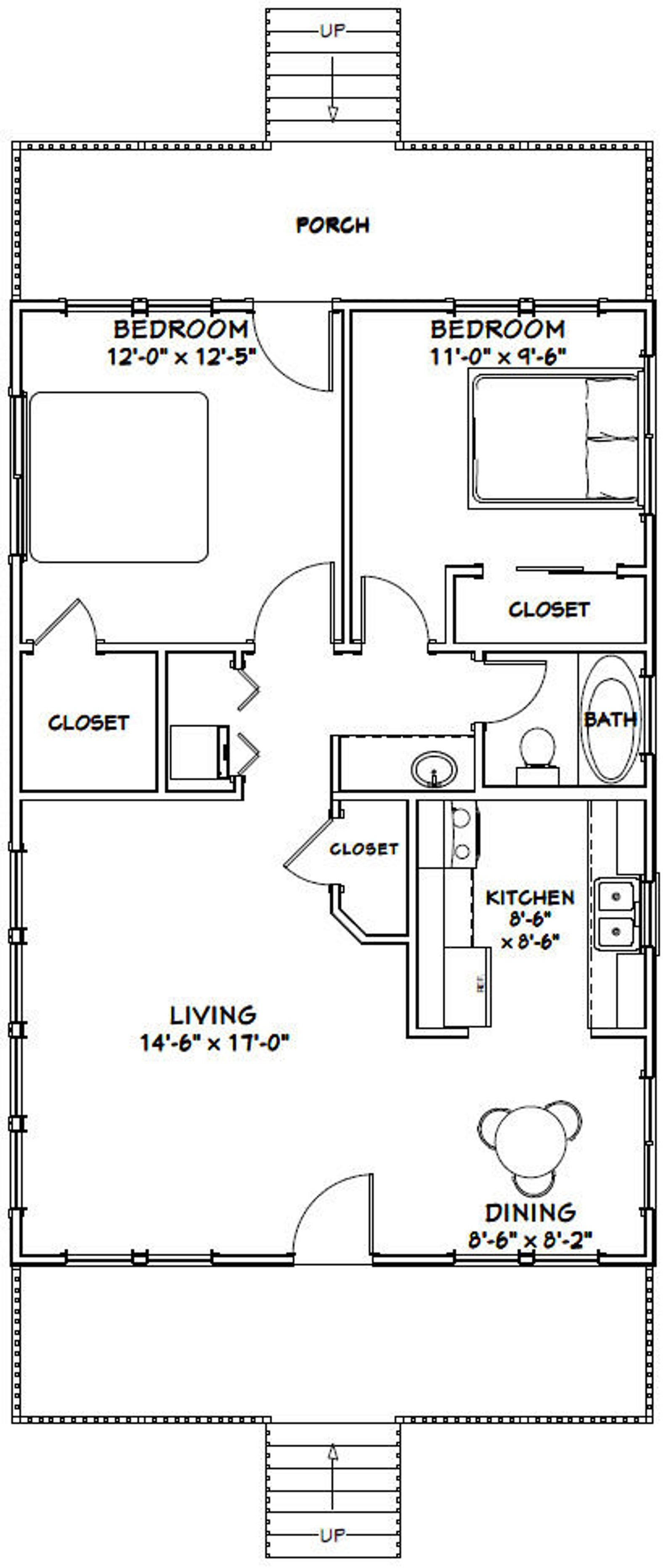 24x36 House 2 Bedroom 1 Bath 864 Sq Ft Pdf Floor Plan Etsy In 2020 Small House Floor Plans Bedroom House Plans Small House Plans