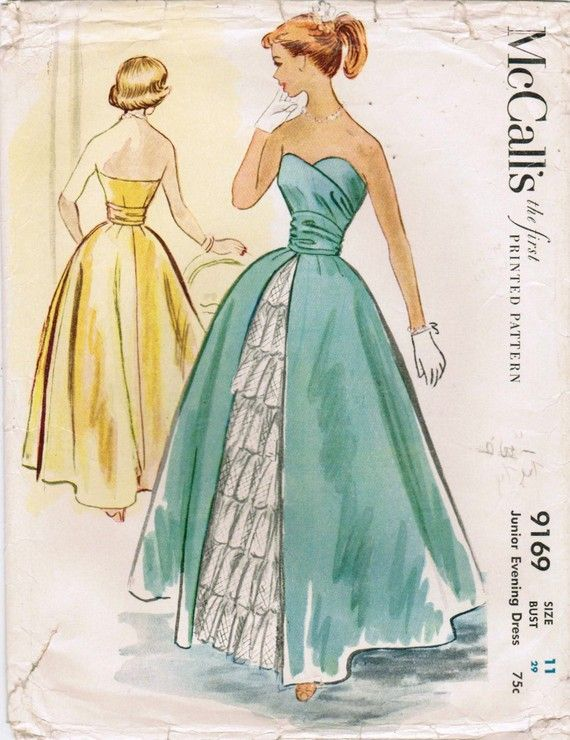 McCall\'s 9169 Vintage 1952 Sewing Pattern Stunning Junior Ball Gown ...