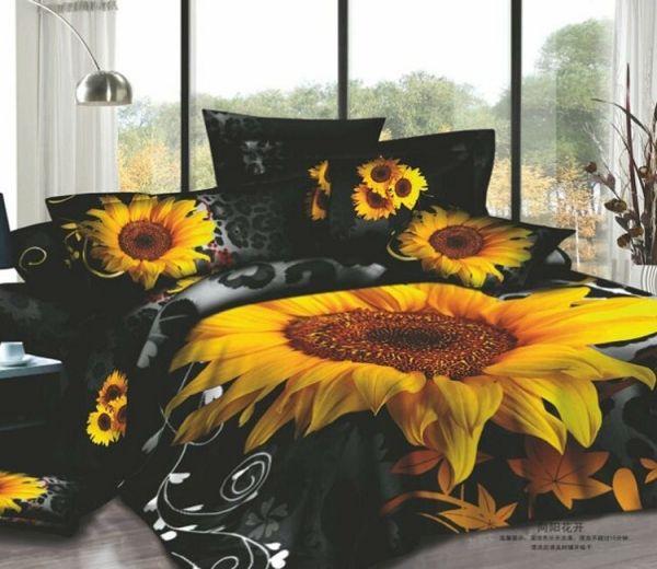 Black And Yellow Bedding Queen Big Yellow Sunflower Black Queen