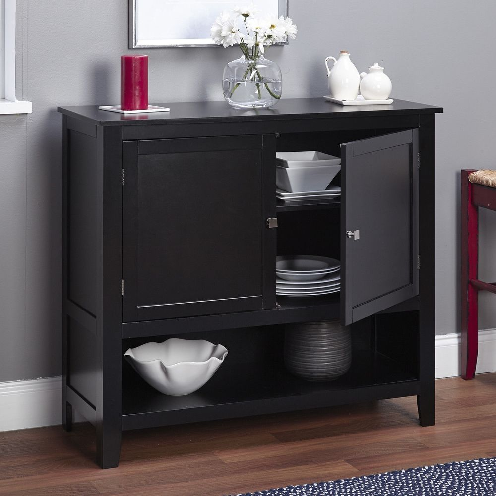 Best Black Wooden Buffet Cabinet Kitchen Pantry Storage Unit 640 x 480