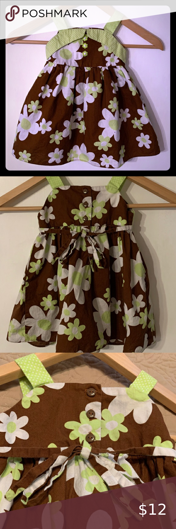 Youngland Summer Sun Dress Green and Brown Youngland  Summer dress 18 months Great used condition Youngland Dresses Casual