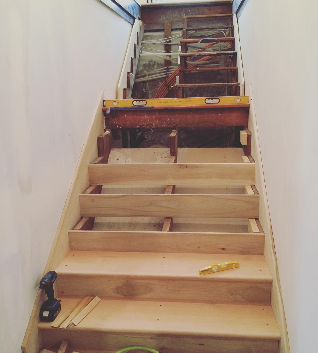Mid Install Basement Stairs New Skirt Boards Treads And | Cost To Replace Basement Stairs | Stair Case | Stair Tread | Carpet | Hardwood | Unfinished Basement