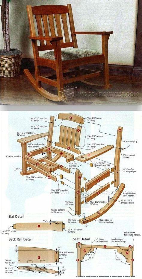 Arts crafts rocking chair plan furniture plans and for Planos de carpinteria de madera