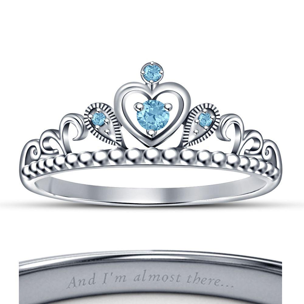 18k White GP Disney Princess Jasmine Fashion Crown Ring In ...