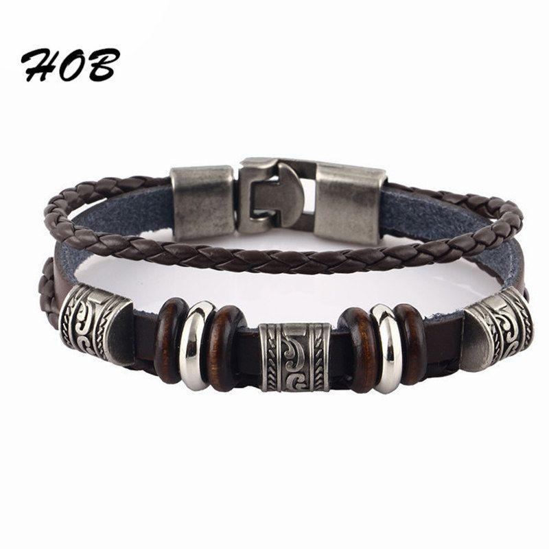 548411a5fa82 2016 encantos del Vintage pulsera de cuero para mujeres hombres Charm hombre  pulseras masculina feminina y