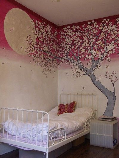 Very Unique Painting Of A Cherry Blossom Tree Mural Meisjeskamer