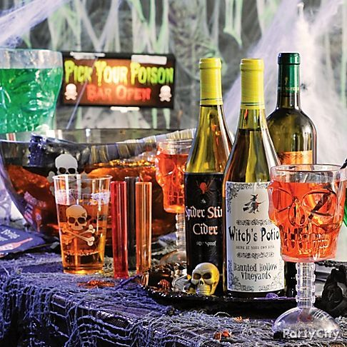 Disguise your wine bottles with Halloween Bottle Labels to really - halloween party decorations for adults