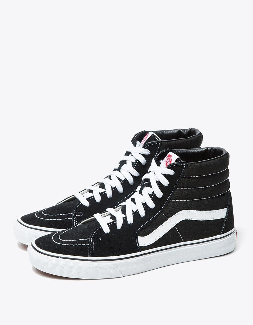 70ae3839b8 Classic Sk8-Hi from Vans in Black. Suede and canvas upper. Lace-up front  with flat woven laces. Lightly padded collar. Vans branded tongue tag.