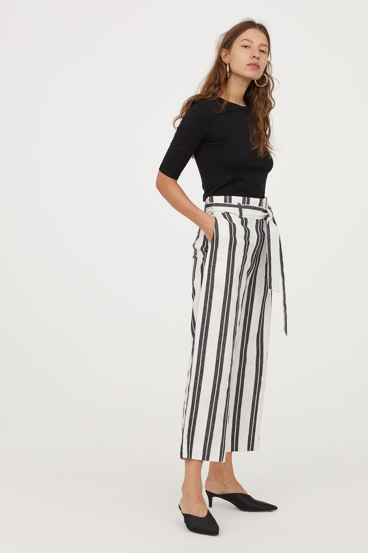 White Striped Ankle Length Pants In Soft Cotton Twill With A High Waist Removable Tie Belt And Hook And Eye Fasteners Zi Fashion Wide Trousers Cotton Pants