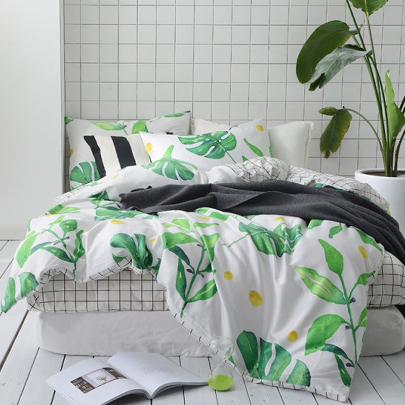 Wannaus Full Size Tropical Green Leaves Printed Cotton 4 Piece Bedding Sets Duvet Cover Queen Bedding Sets Bedding Sets Bed Linens Luxury