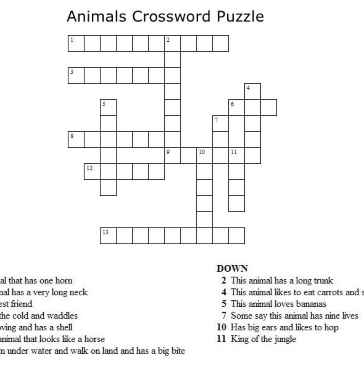 Animals Crossword Puzzle Kids Crossword Puzzles Crossword