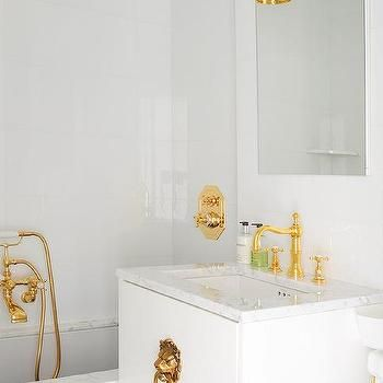 Bathroom Fixtures Gold white/ marble bathroom with gold fixtures | little bath