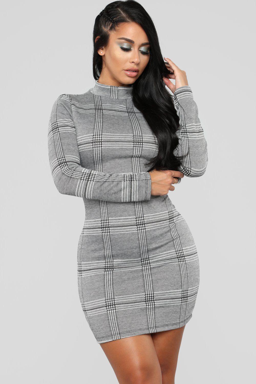 Stratford Plaid Dress Grey Gray plaid dress, Plaid