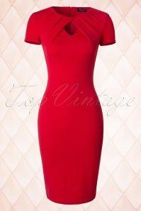 Vintage Chic Keyhole Midi Red Pencil Dress 100 20 18359 20160330 0005W
