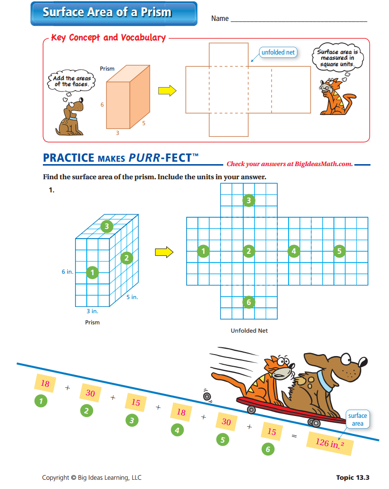 Surface Area of a Prism Worksheet - ANSWERS | Surface Area (Middle ...