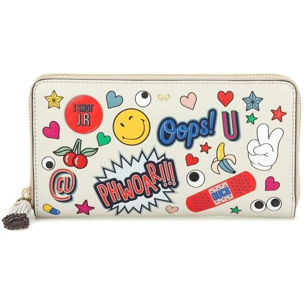 Anya Hindmarch Large Zip-Around Printed Leather Wallet ($545) ❤ liked on  Polyvore