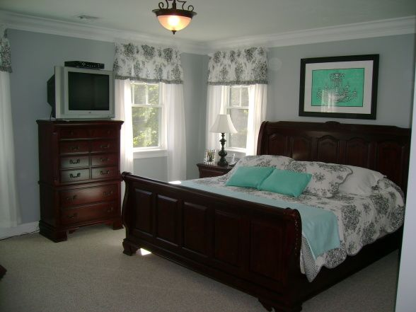 Bedroom With Black And White Toile And Tiffany Box Blue Accents The Wall Color Is A Pale Gray With Lots Of Blue Undertones
