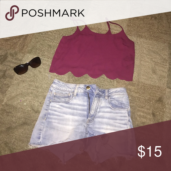 Adorable maroon scalloped crop top Worn once great condition LA Hearts Shorts Jean Shorts