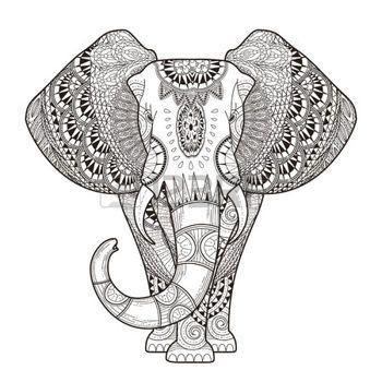 animales: Colorear elefante elegante en un estilo exquisito Vectores ...