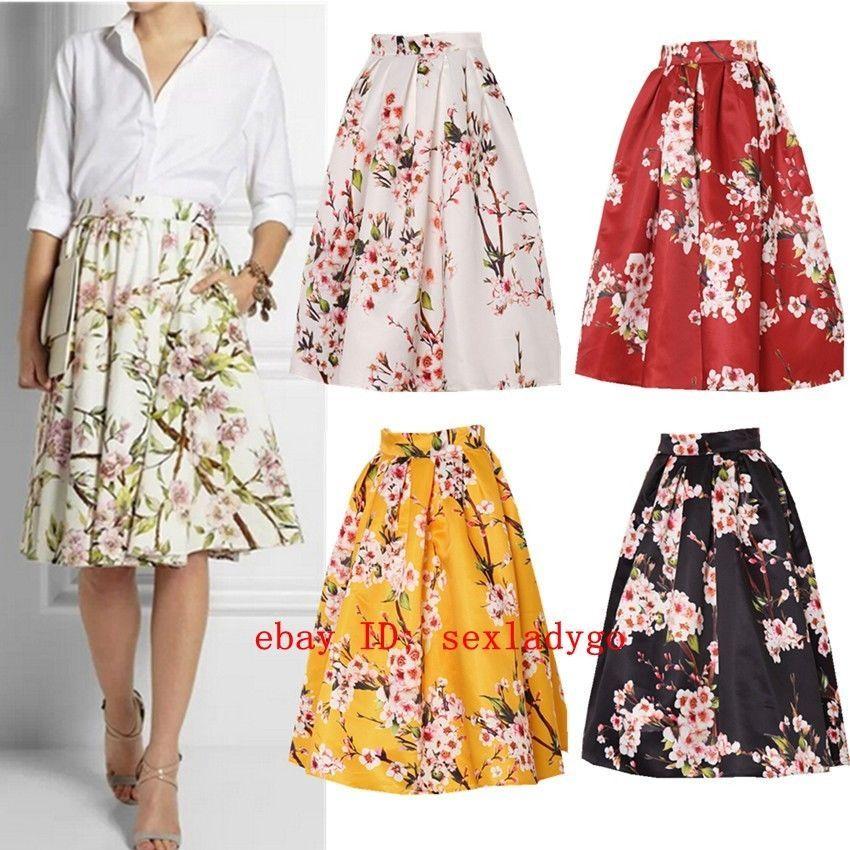 217a720f9a Vintage Hepburn Floral Print High Waist Pleated Midi Skirt Ball Gown Swing  Skirt  Unbranded  SwingSkirt
