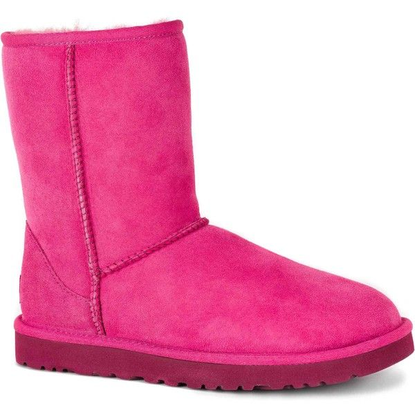 UGG Women's Classic Short Furious Fuchsia Boots ($130) ❤ liked on Polyvore featuring shoes