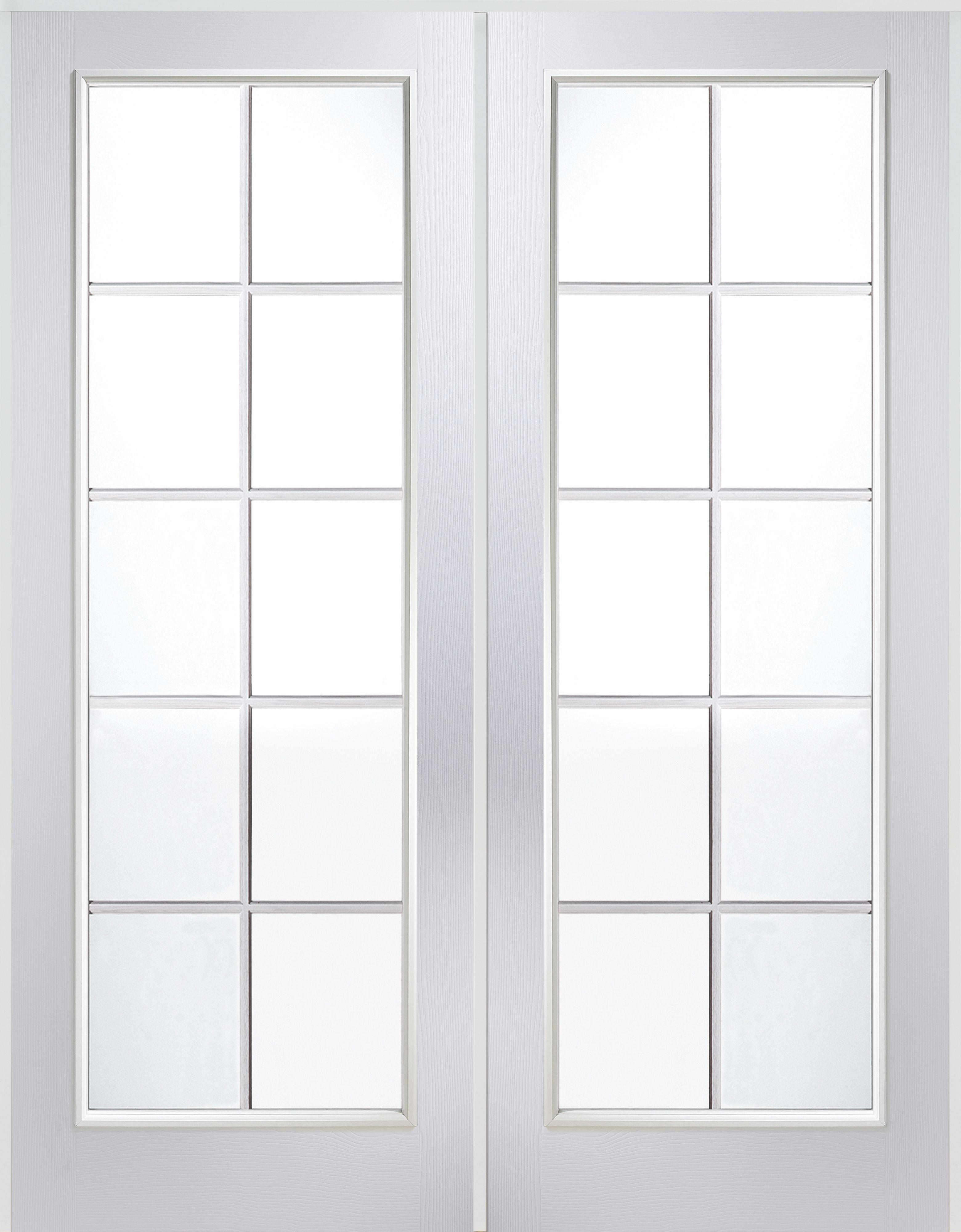 Bq It Kitchen Doors 10 Lite Clear Glazed Primed Internal French Door Set H2030mm W