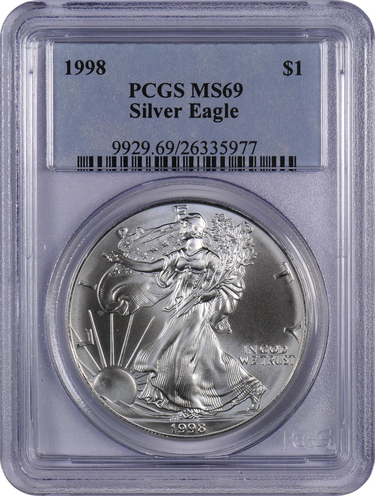 This 1998 Pcgs Ms69 Silver Eagle Is A Popular Coin For Investors And Collectors Alike This Coin Has A Face Value Of Silver Eagles Silver Bullion Coins Silver