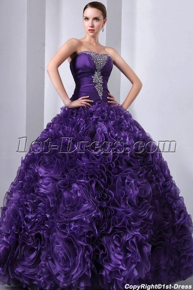 Purple 3D Handmade Flowers Ruffled Quinceanera Gown 2014:1st-dress ...