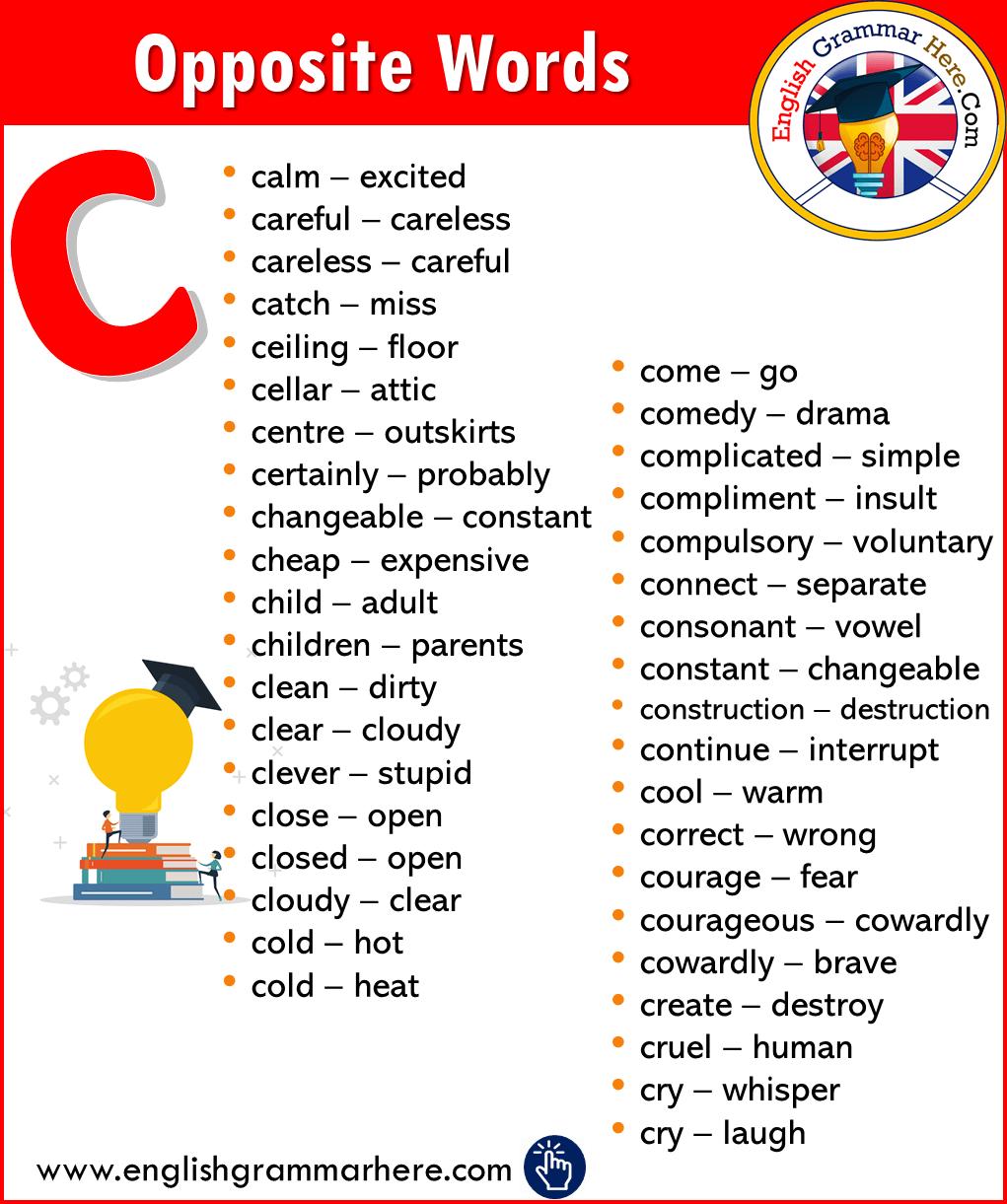 Alphabetical Opposite Word List C Opposite Words English Opposite Words Opposite Words List