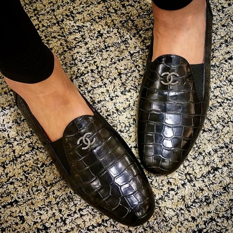 Alligator leather chanel loafers
