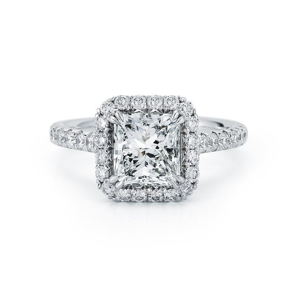 Radiant cut diamond halo ring cts center diamond radiant cut
