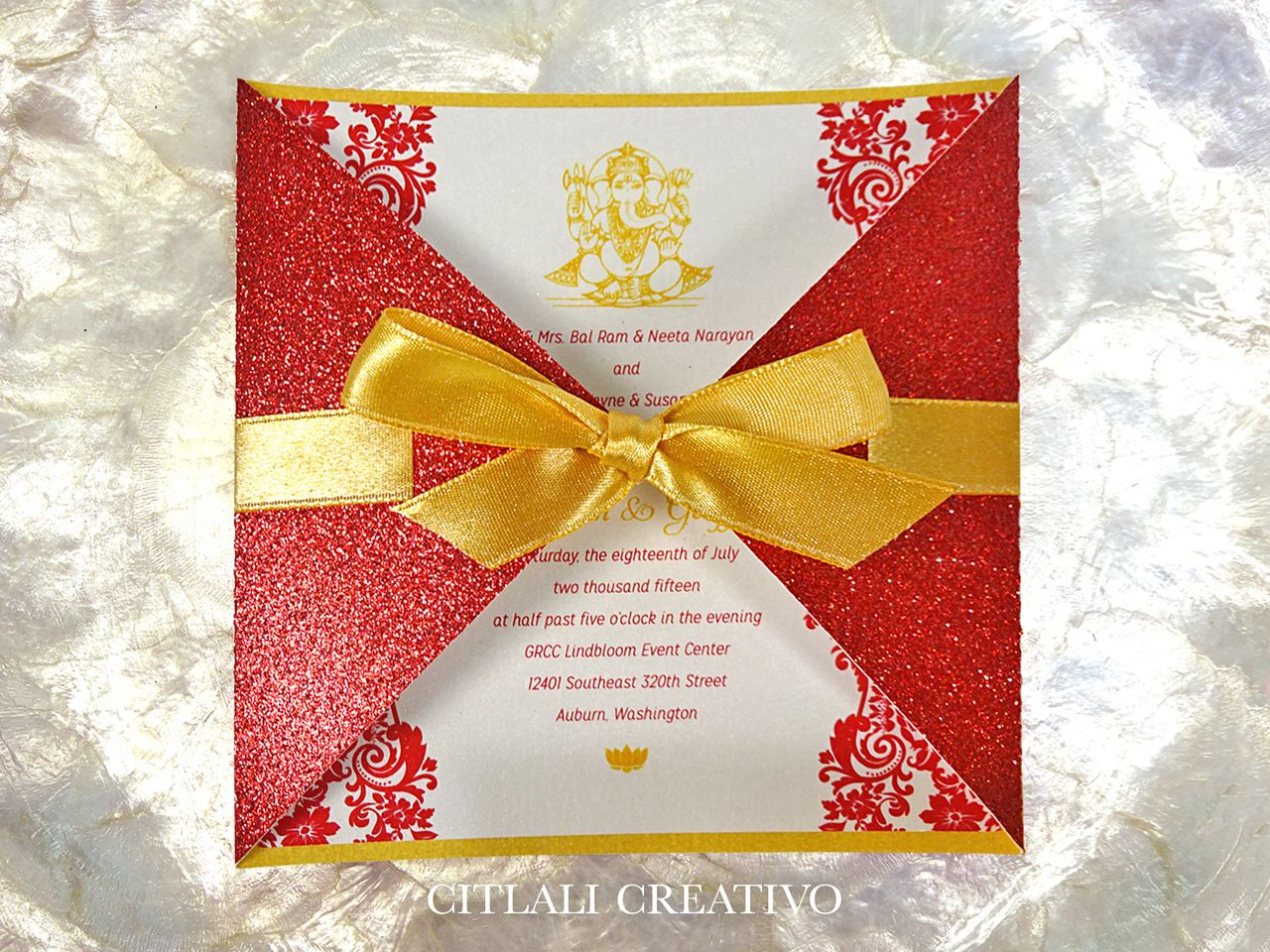 Indian Wedding Invitations in Diamond Shaped Glitter Folder + Ribbon ...